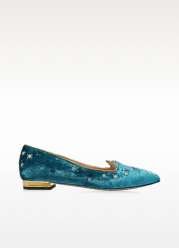 Mid-Century Kitty Slipper aus Samt in blau - Charlotte Olympia