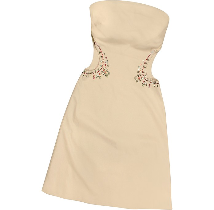 Opale Crystal Decorated Cut Out Strapless Dress - Hafize Ozbudak