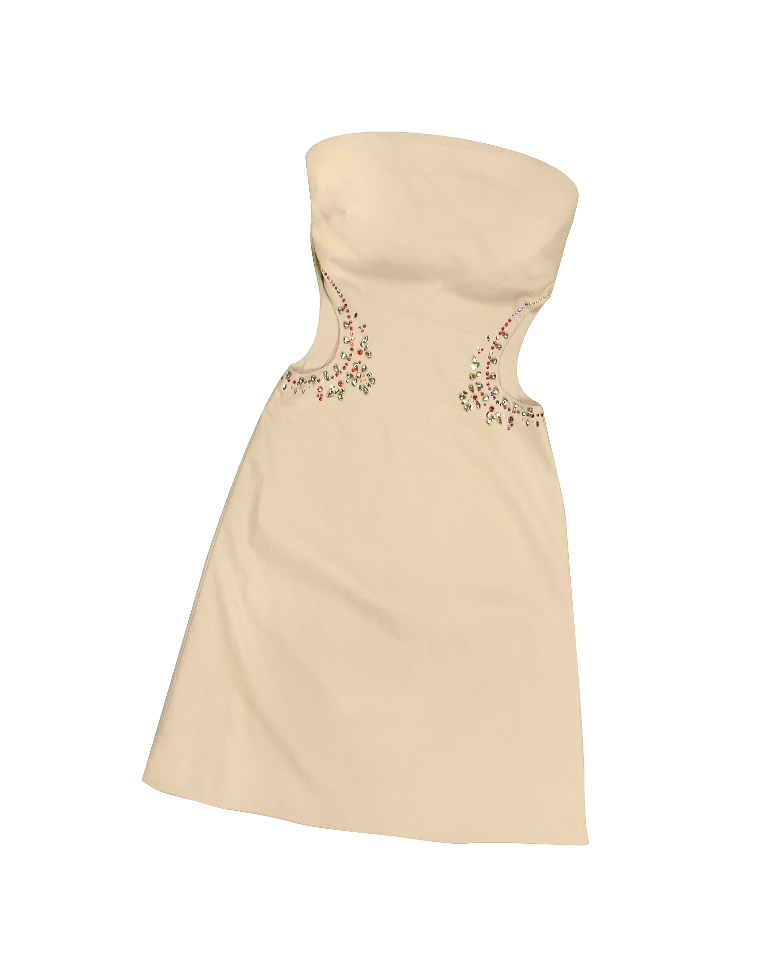 Image of Hafize Ozbudak Designer Tops & Co, Opale Crystal Decorated Cut Out Strapless Dress