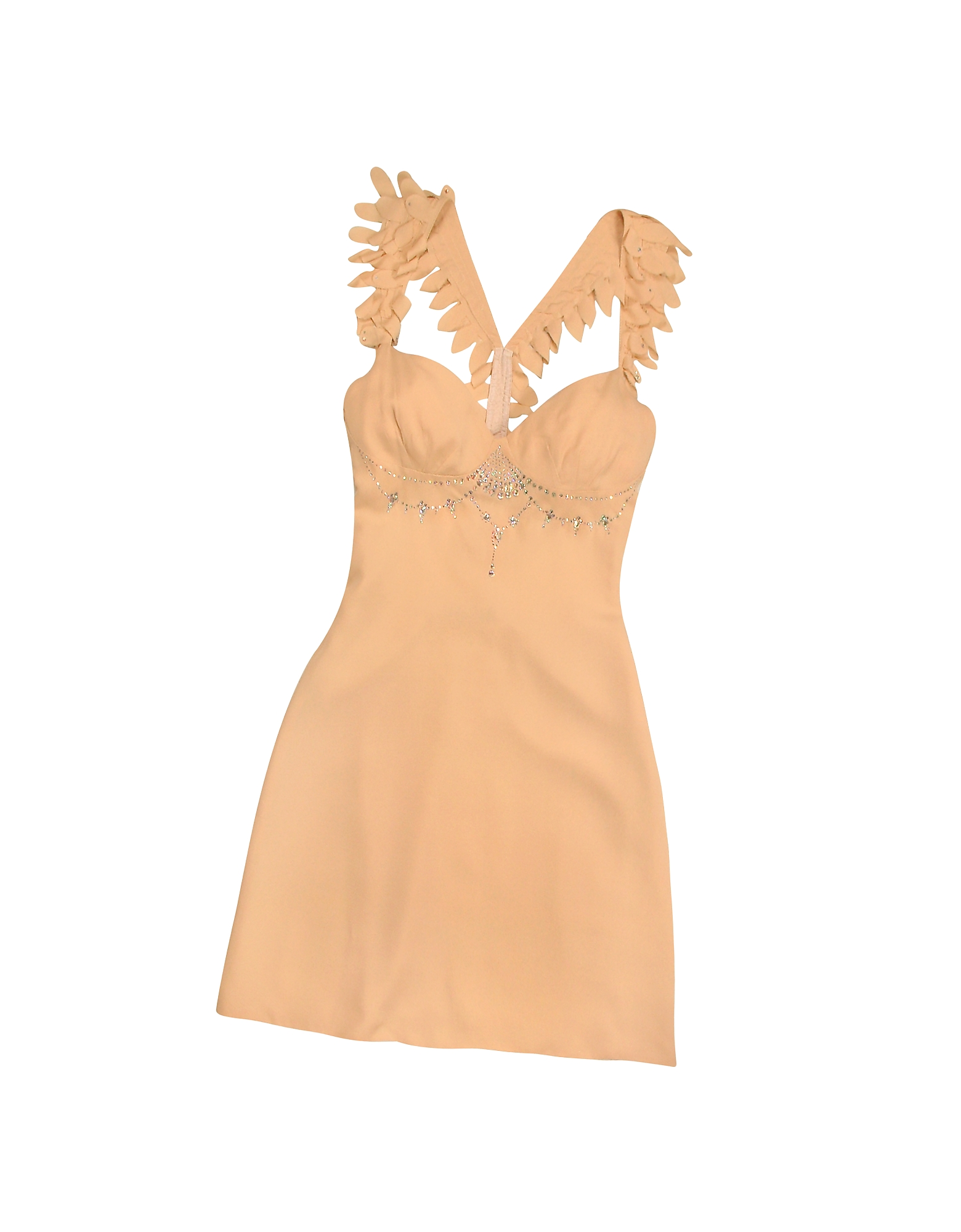 Hafize Ozbudak Tops & Co, Peach Crystal Decorated Silk Crepe Dress