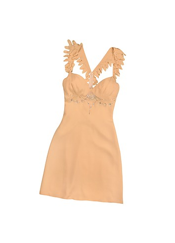 Hafize Ozbudak Peach Swarovski Decorated Silk Crepe Dress