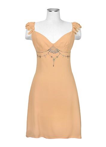 Hafize Ozbudak Peach Swarovski Decorated Silk Crepe Dress