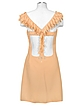Peach Crystal Decorated Silk Crepe Dress - Hafize Ozbudak
