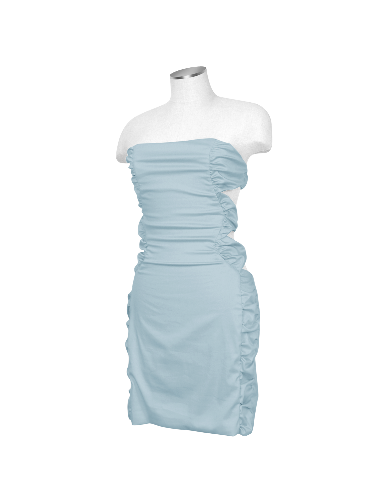 Image of Light Blue Cut-out Back Strapless Mini Cotton Dress