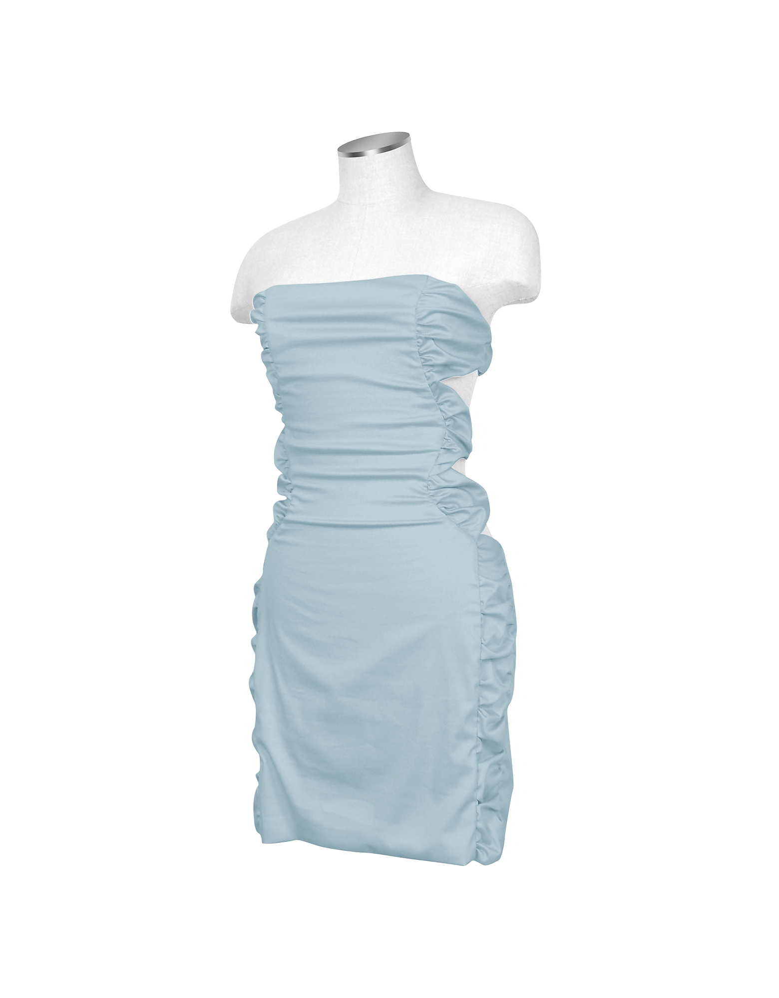 Image of Hafize Ozbudak Designer Tops & Co, Light Blue Cut-out Back Strapless Mini Cotton Dress