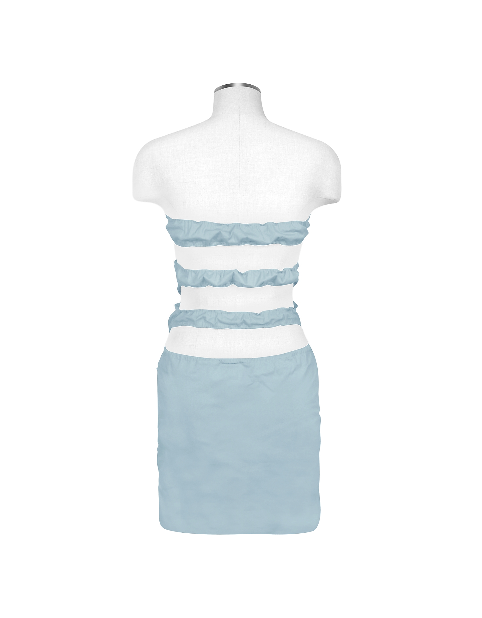 Light Blue Cut-out Back Strapless Mini Cotton Dress от Forzieri.com INT