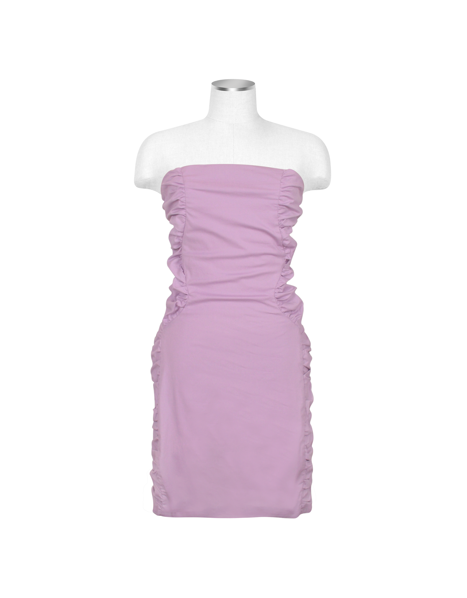 Image of Lavender Cut-out Back Strapless Mini Cotton Dress