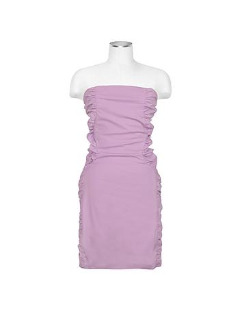 Hafize Ozbudak - Lavender Cut-out Back Strapless Mini Cotton Dress