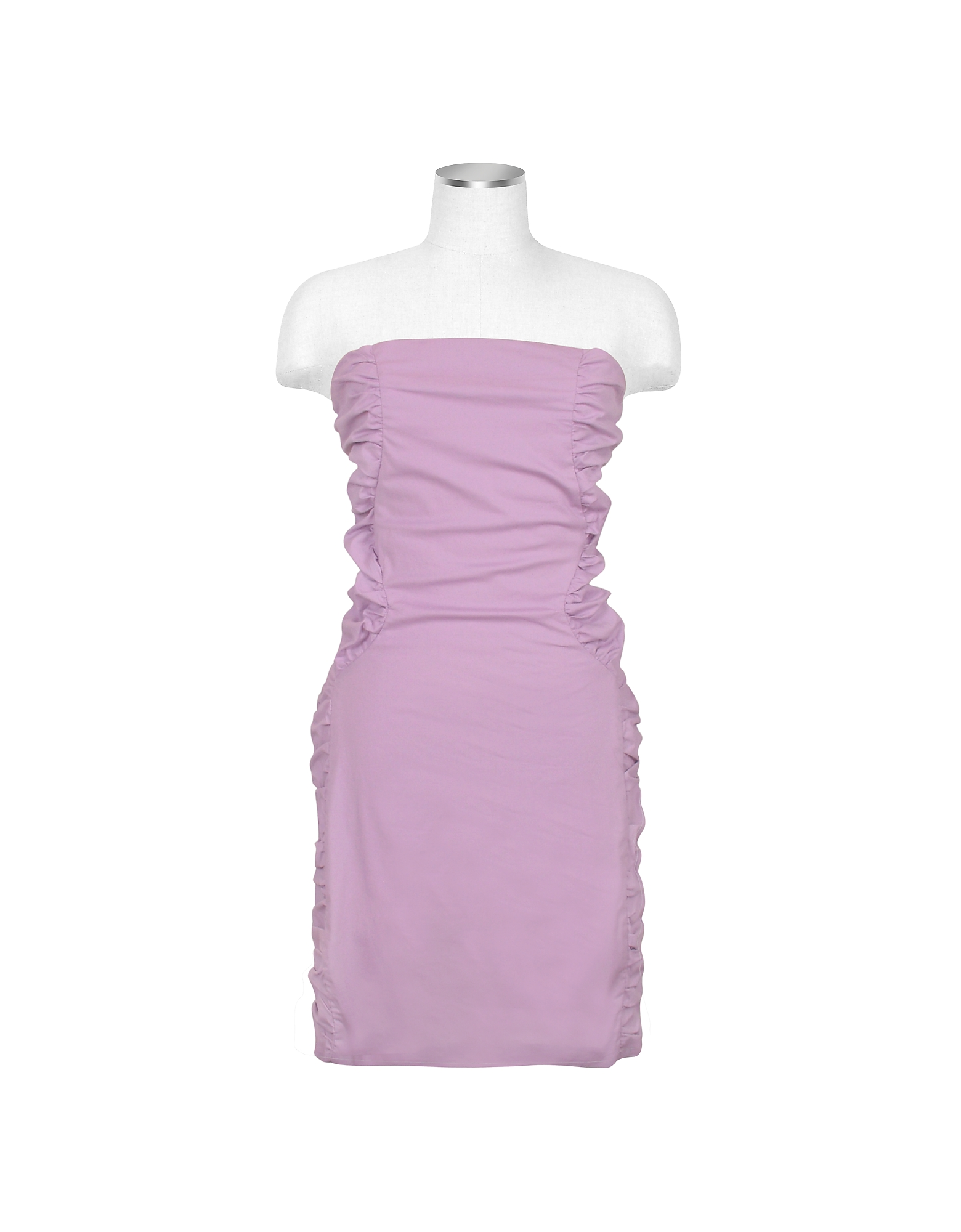 Image of Hafize Ozbudak Designer Tops & Co, Lavender Cut-out Back Strapless Mini Cotton Dress