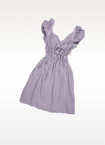 Iris Cap Sleeve Ruffled Silk Dress - Hafize Ozbudak