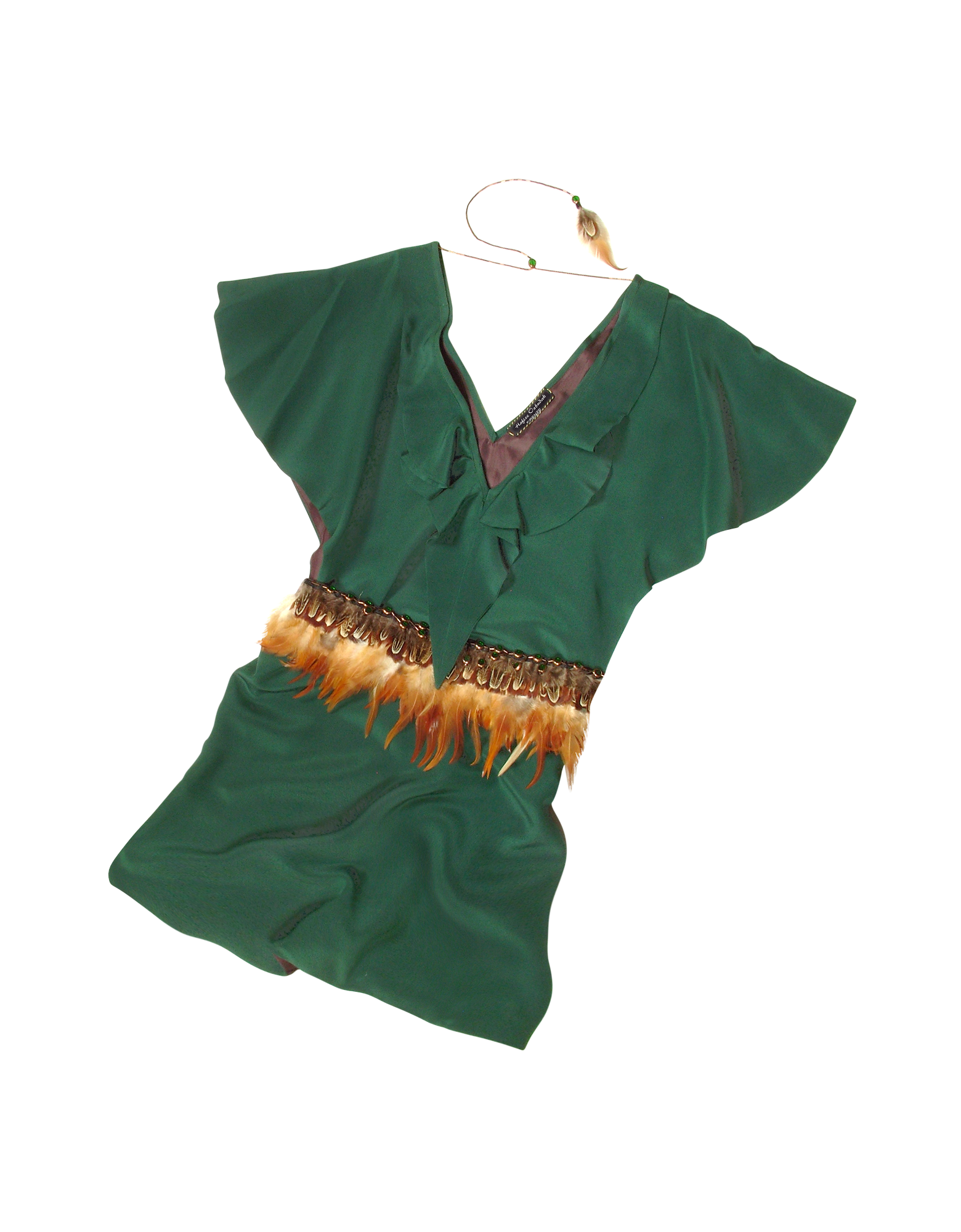 Image of Jade Green Silk Tunic with Feather Belt