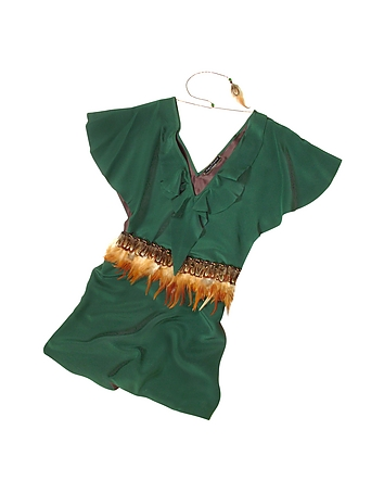 Hafize Ozbudak - Jade Green Silk Tunic with Feather Belt