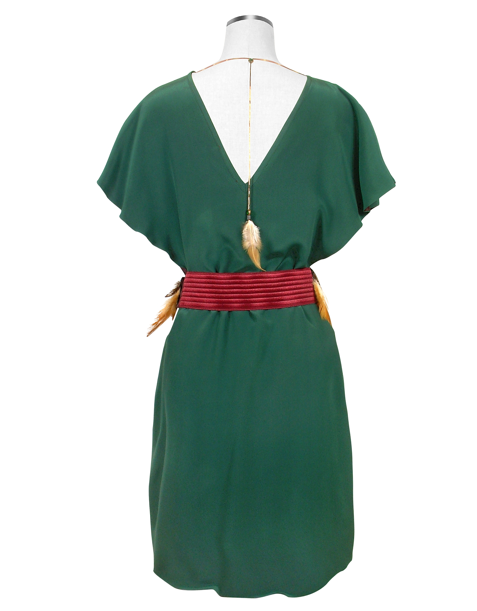 Jade Green Silk Tunic with Feather Belt от Forzieri.com INT