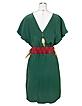 Jade Green Silk Tunic with Feather Belt - Hafize Ozbudak