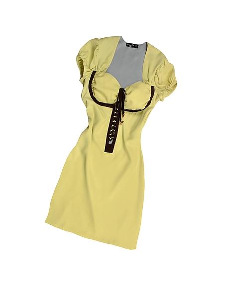 Hafize Özbudak Kleid aus Seide mit Applikationen in pistaziengrün braun