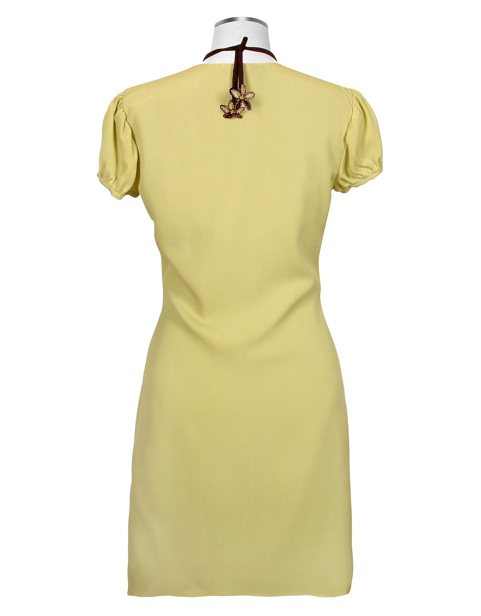 Pistachio & Brown Trim Silk Short Sleeve Tunic от Forzieri.com INT