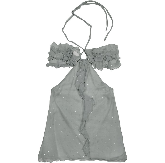Gray Ruched Front Silk Crepe Halter Top - Hafize Ozbudak