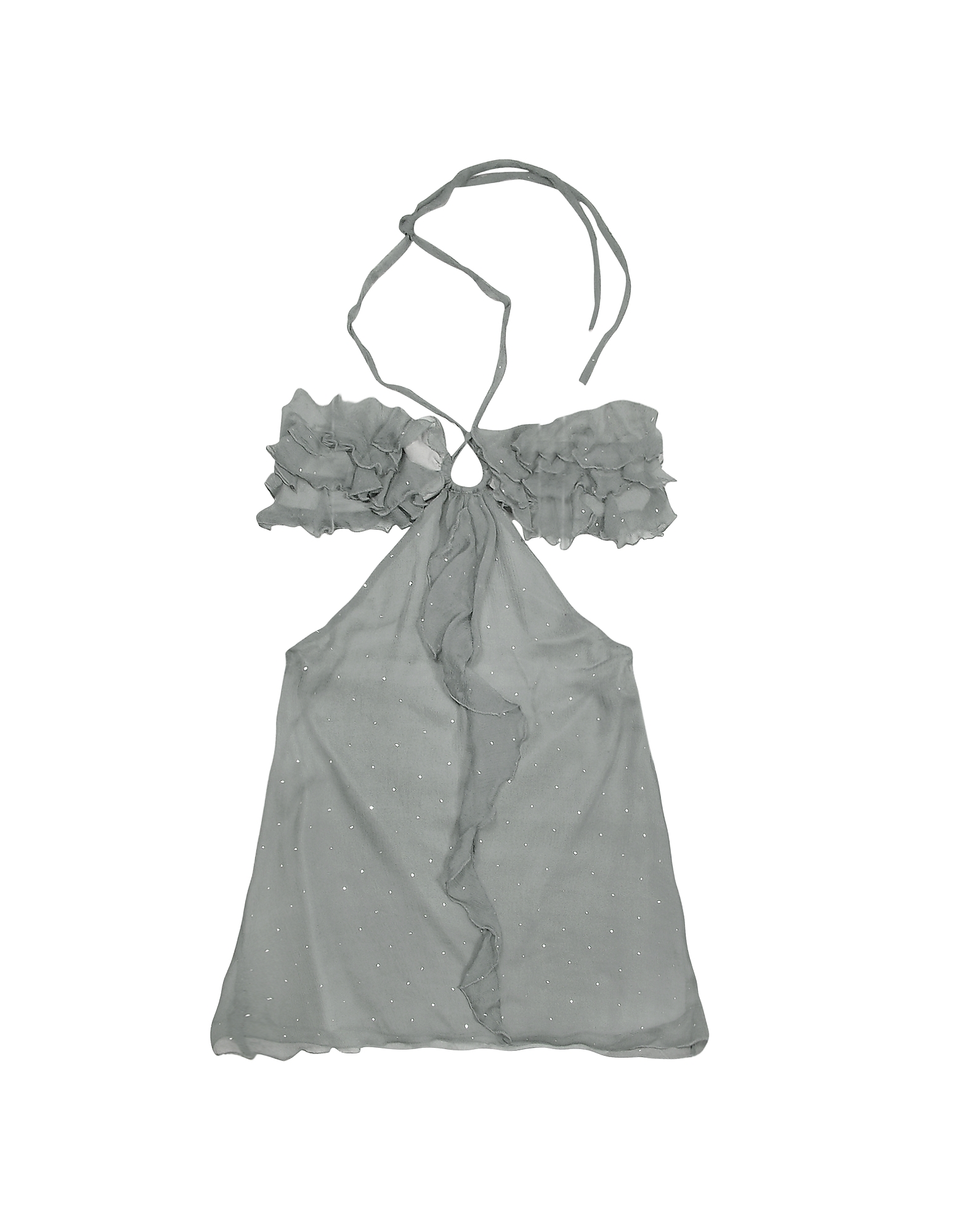 Hafize Ozbudak Tops & Co, Gray Ruched Front Silk Crepe Halter Top
