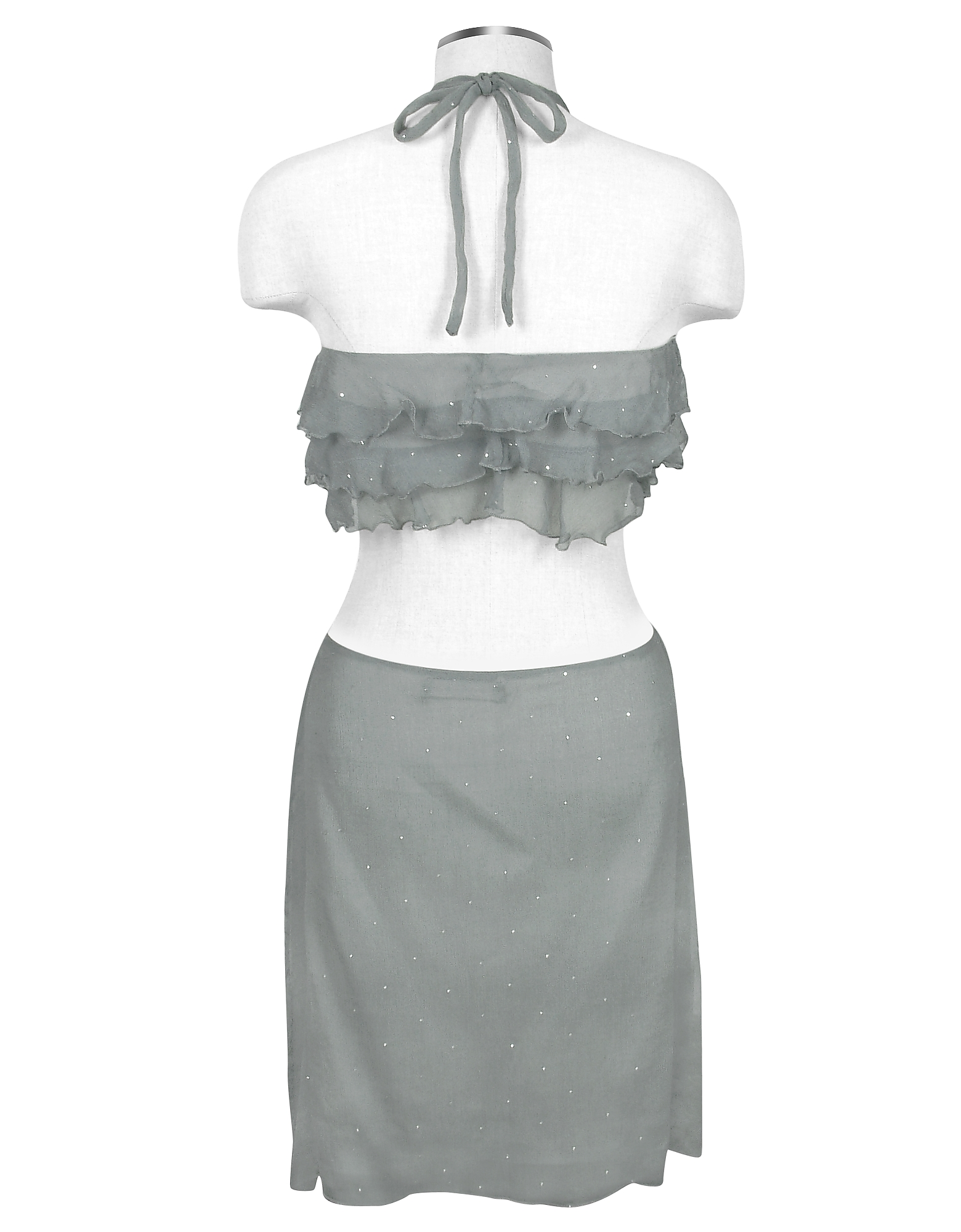 Gray Ruched Front Silk Crepe Halter Top от Forzieri.com INT