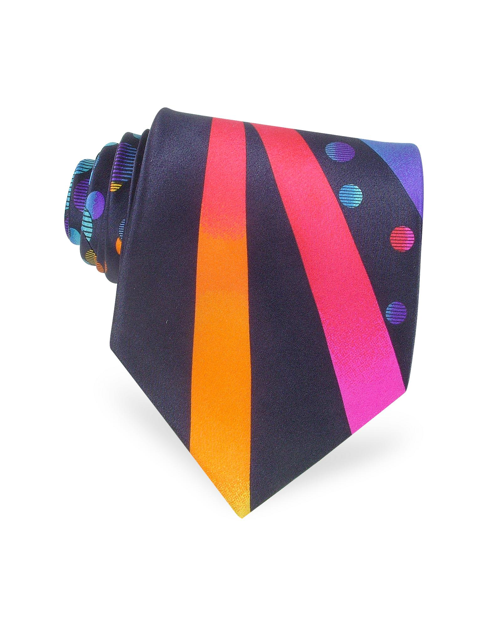 Vitaliano Pancaldi  Handmade Ornamental Printed Silk Tie