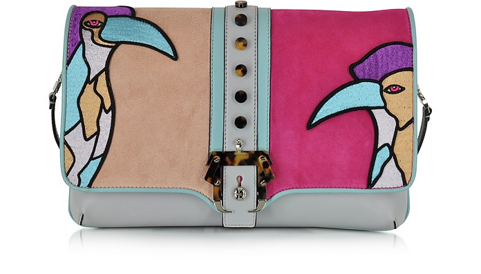 Sylvie Secret Garden Leather and Suede Clutch - Paula Cademartori