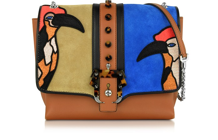 Alice Secret Garden Leather and Suede Shoulder Bag - Paula Cademartori