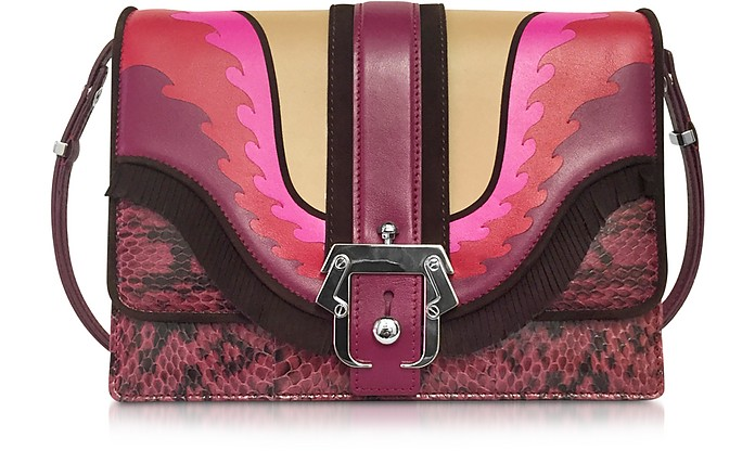 Tatiana Burgundy Ayers and Nappa Leather Shoulder Bag - Paula Cademartori