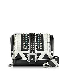 Alice Black & White leather Shoulder Bag w/studs - Paula Cademartori