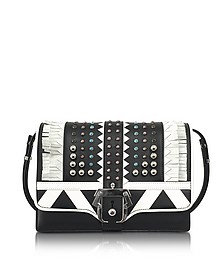 Tatiana Tetris Black and White Leather Shoulder Bag - Paula Cademartori