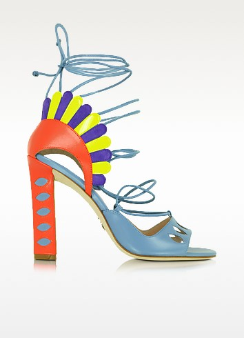Lotus Multicolor Leather Lace-up Sandal - Paula Cademartori