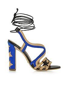 Starry - Sandales à Talons en Cuir Beige et Cuir Bleu Électrique - Paula Cademartori