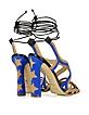 Starry Beige & Blue Leather and Suede Sandal - Paula Cademartori