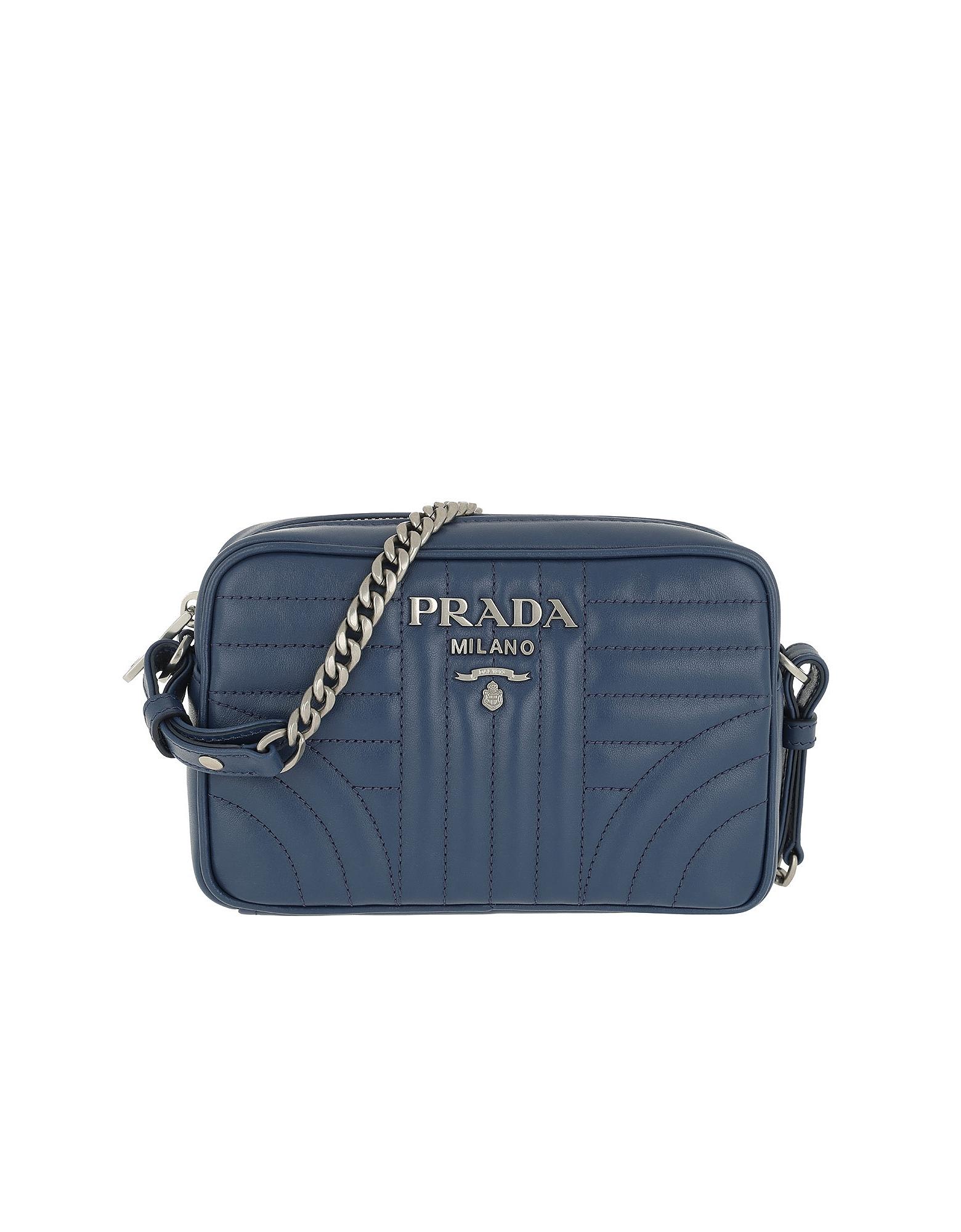 Prada Handbags, Diagramme Crossbody Bag Leather Bluette 2
