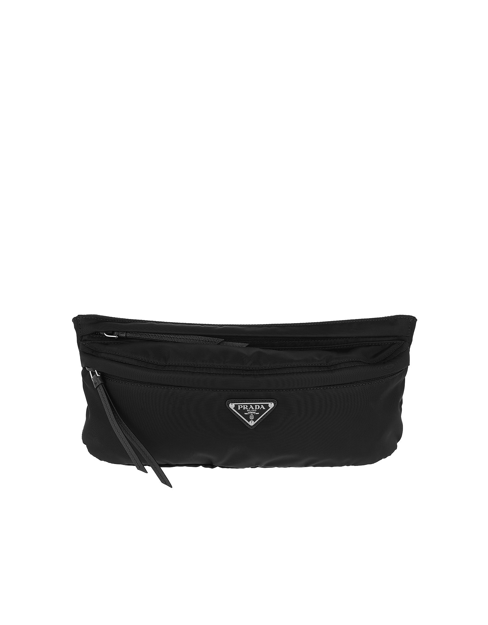 Fabric and Leather Belt Bag Black