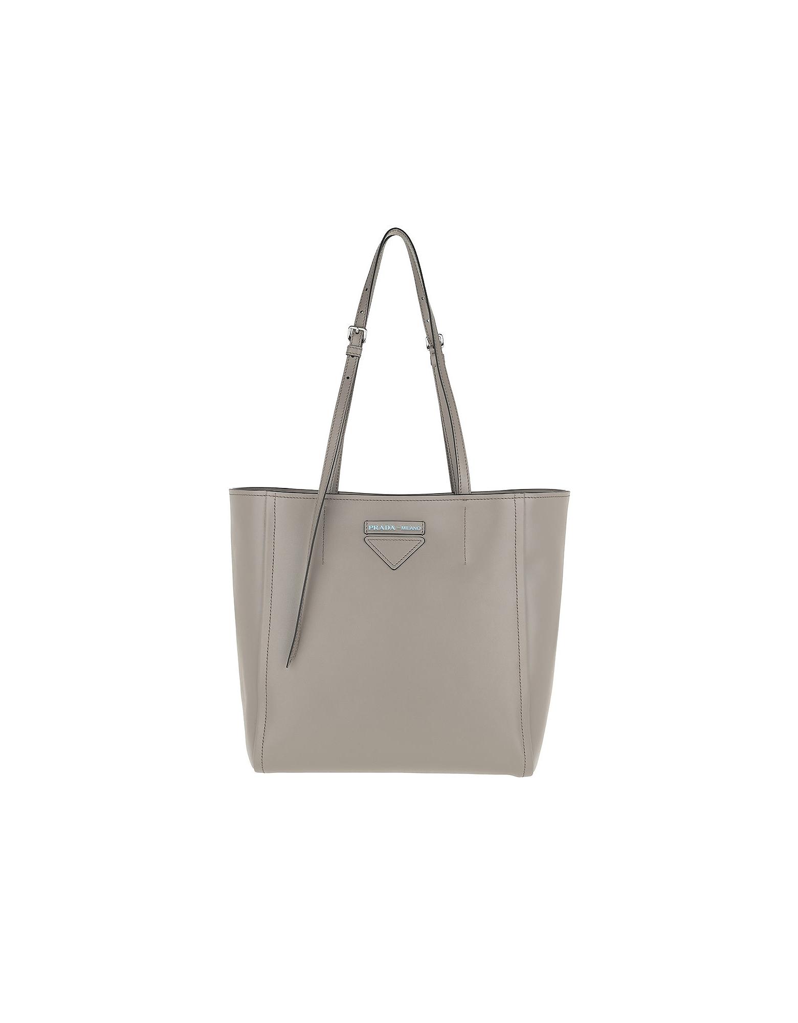 5a0a6b147a81 Prada Designer Handbags, Logo Tote Bag Rivets Leather Argilla/Nero (Luggage  & Bags
