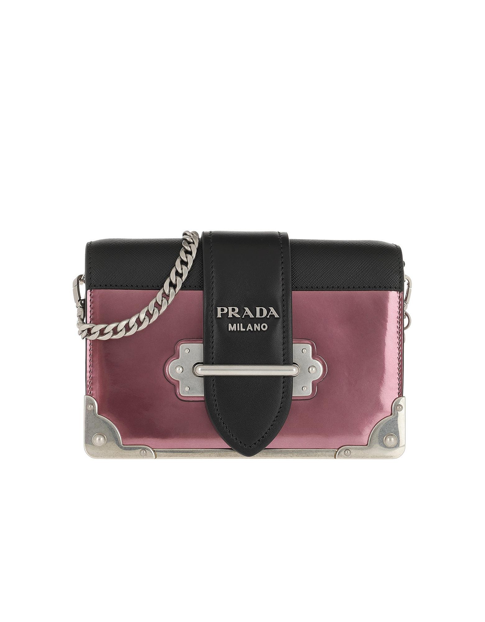 Cahier Shoulder Bag Metallic Leather Ibisco/Nero