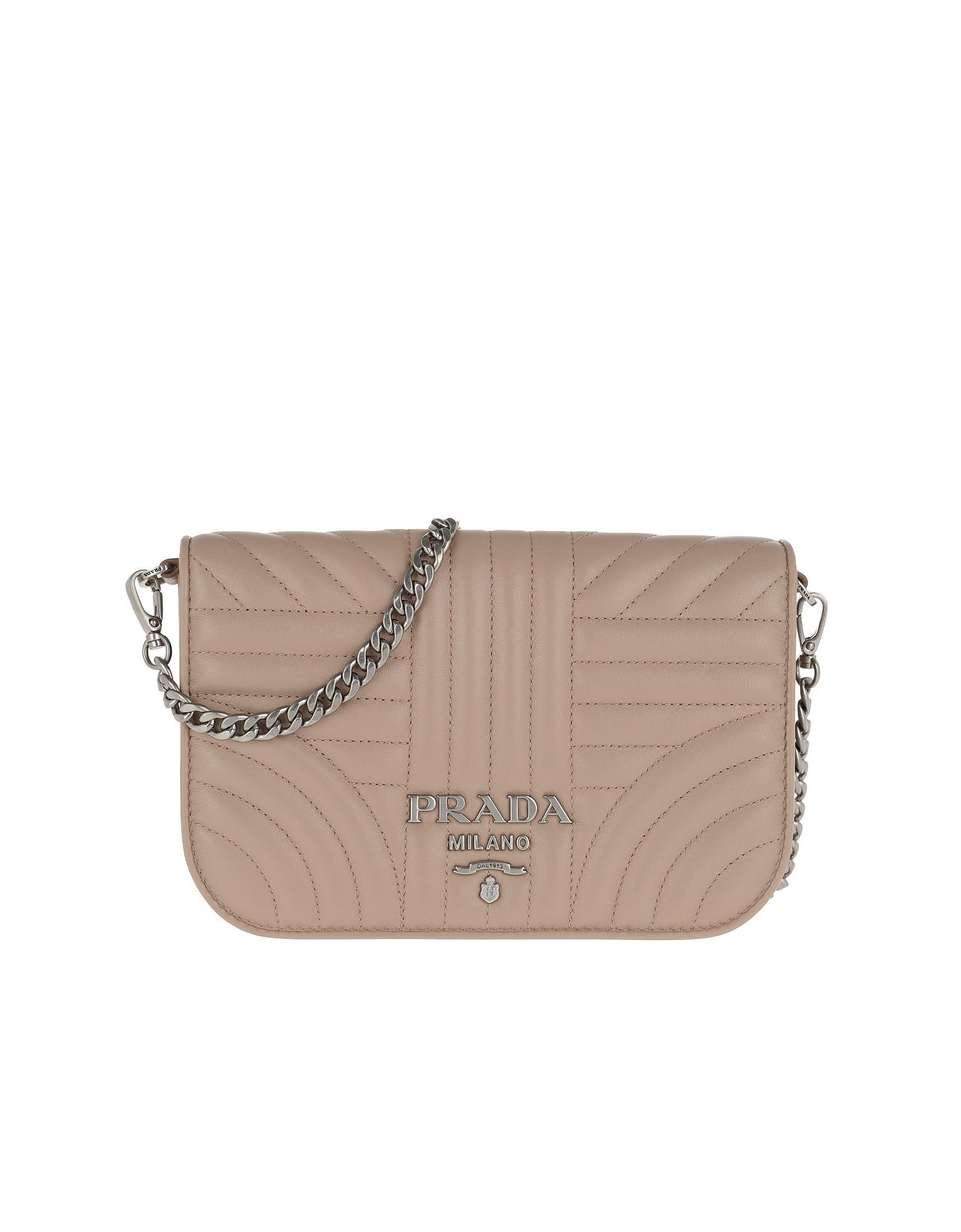 Prada Designer Handbags, Quilted Diagramme Nappa Leather Bag Cipria