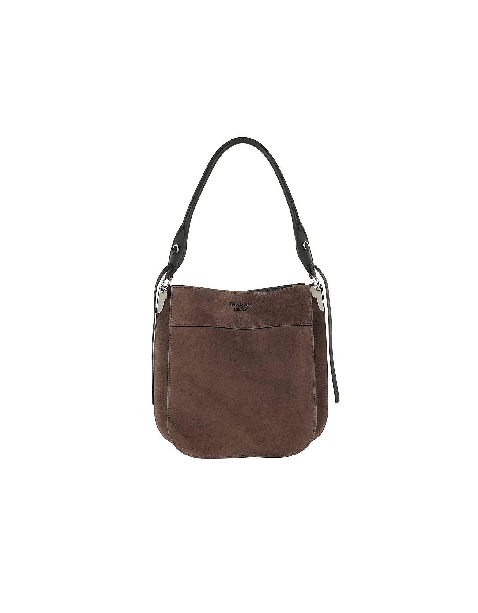 Prada Designer Handbags, Margit Bag Suede Bruciato/Nero