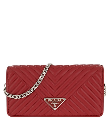 Mini Crossbody Bag Quilted Leather Red