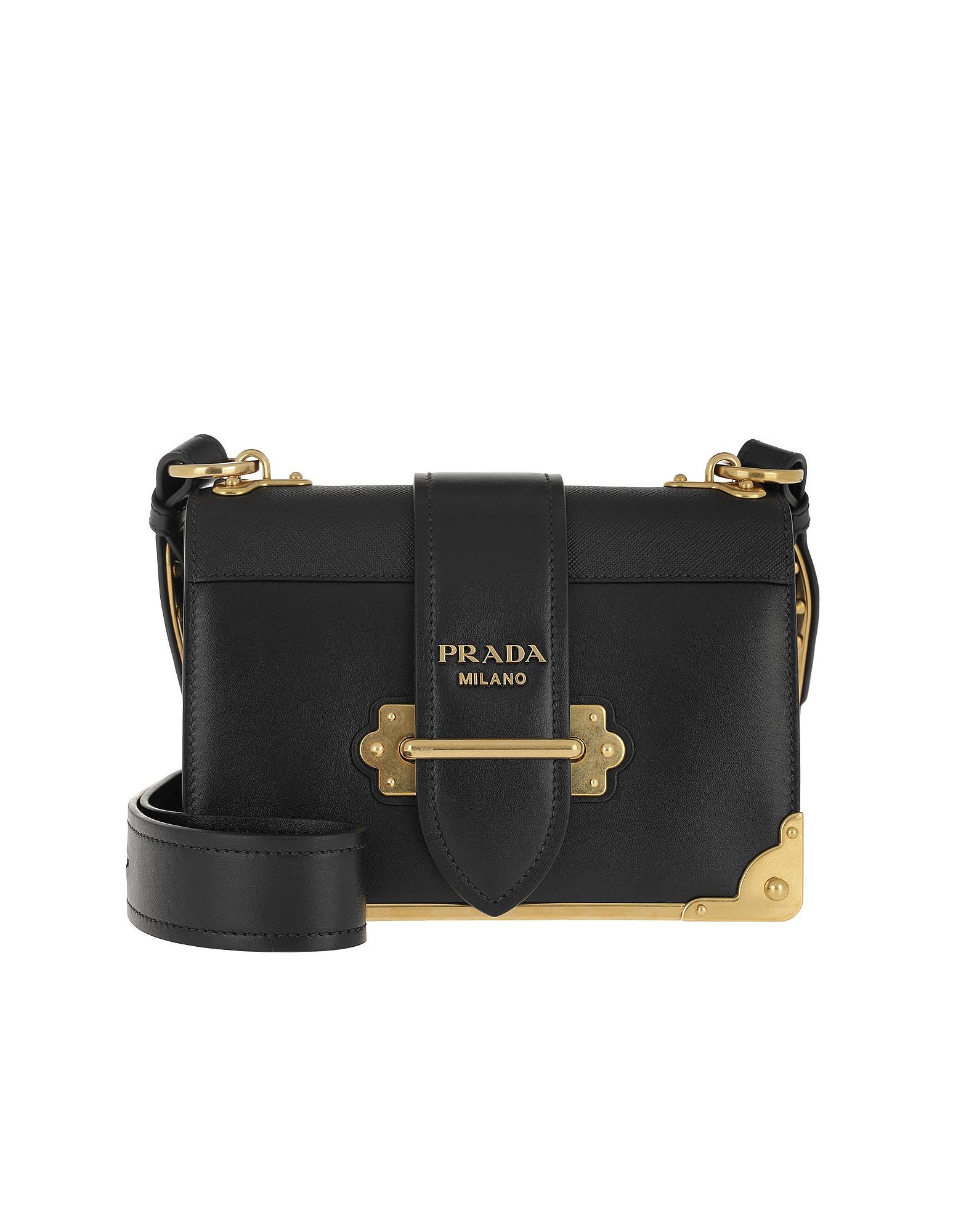 Prada Handbags, Cahier Crossbody Bag Black