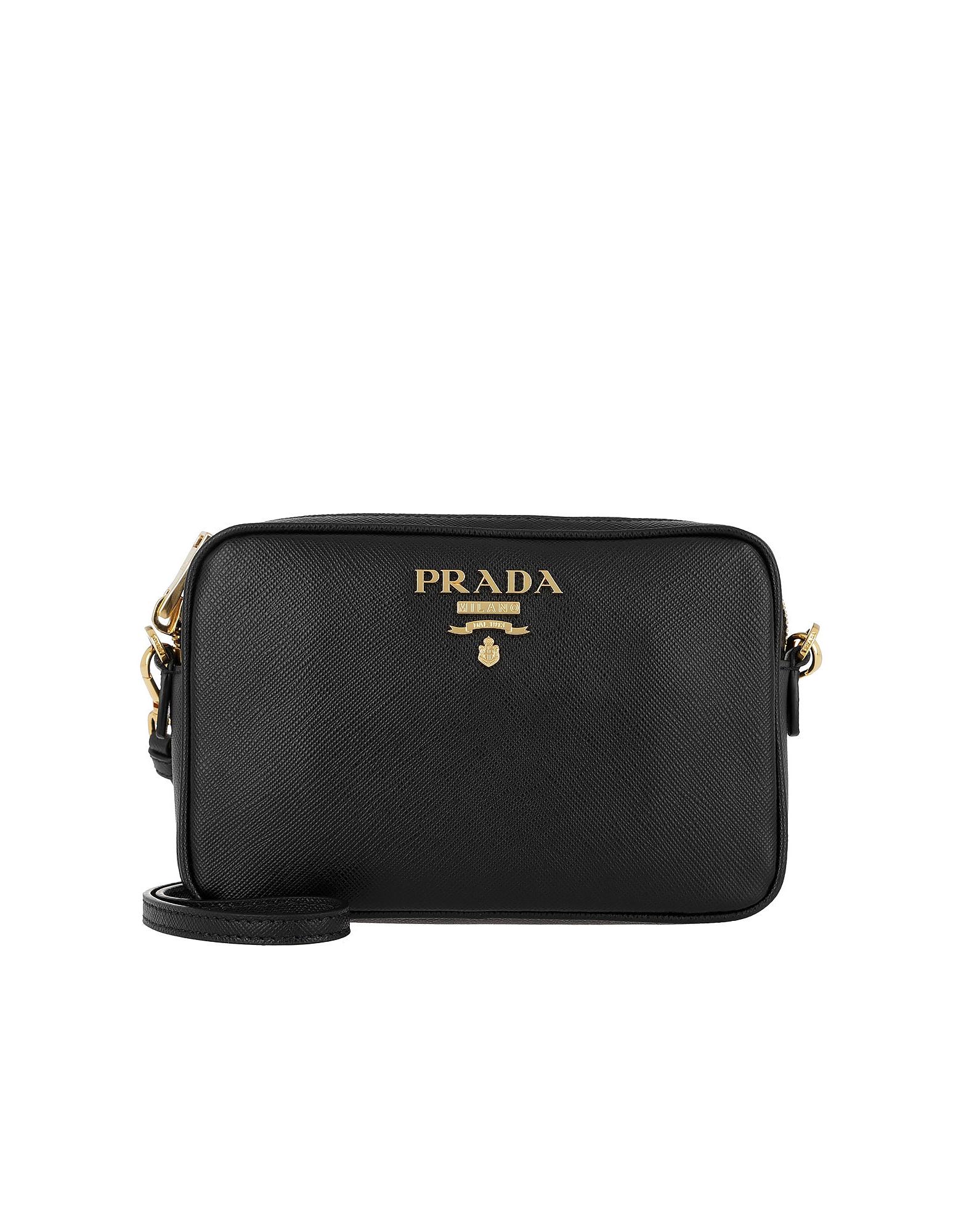 Prada Handbags, Medium Saffiano Leather Black Camera Bag