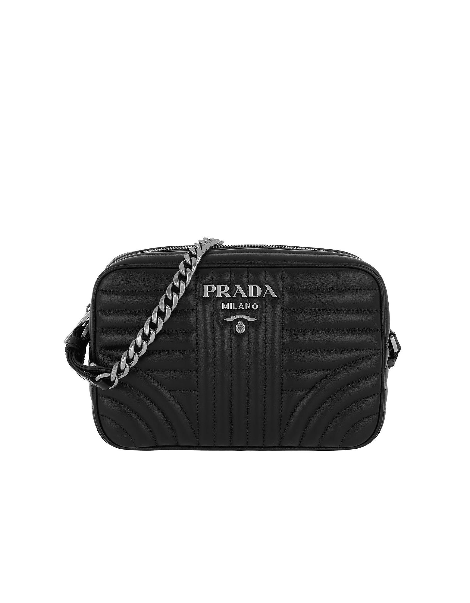 Prada Handbags, Diagramme Large Camera Bag Black2
