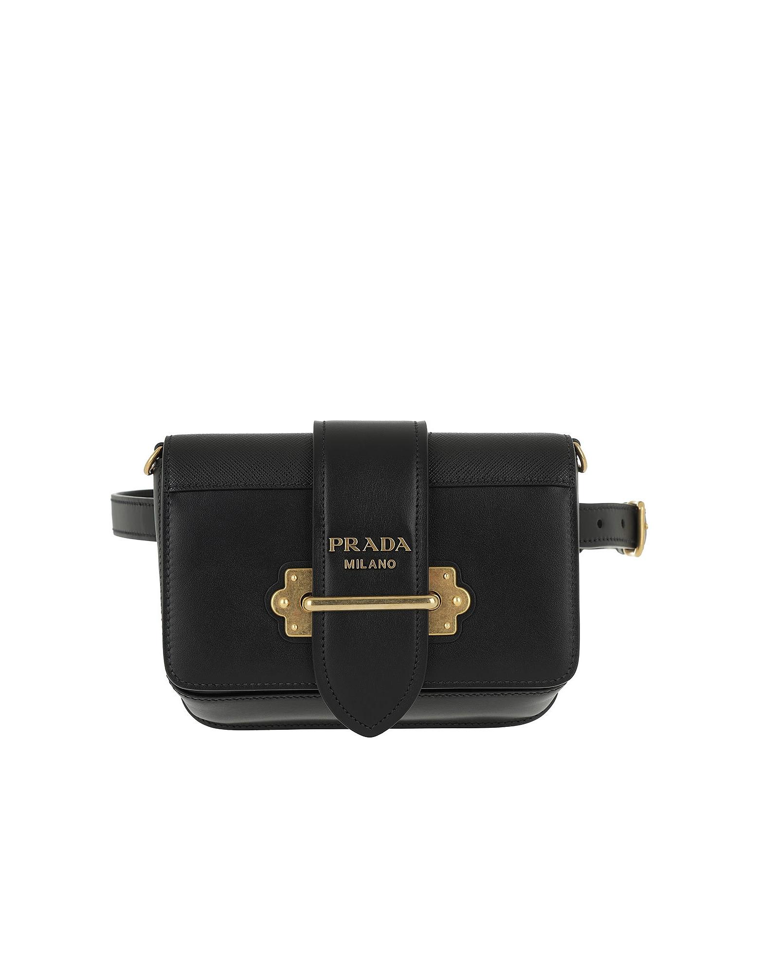 Prada Cahier Studded Belt Bag Leather Black  49b2591168166