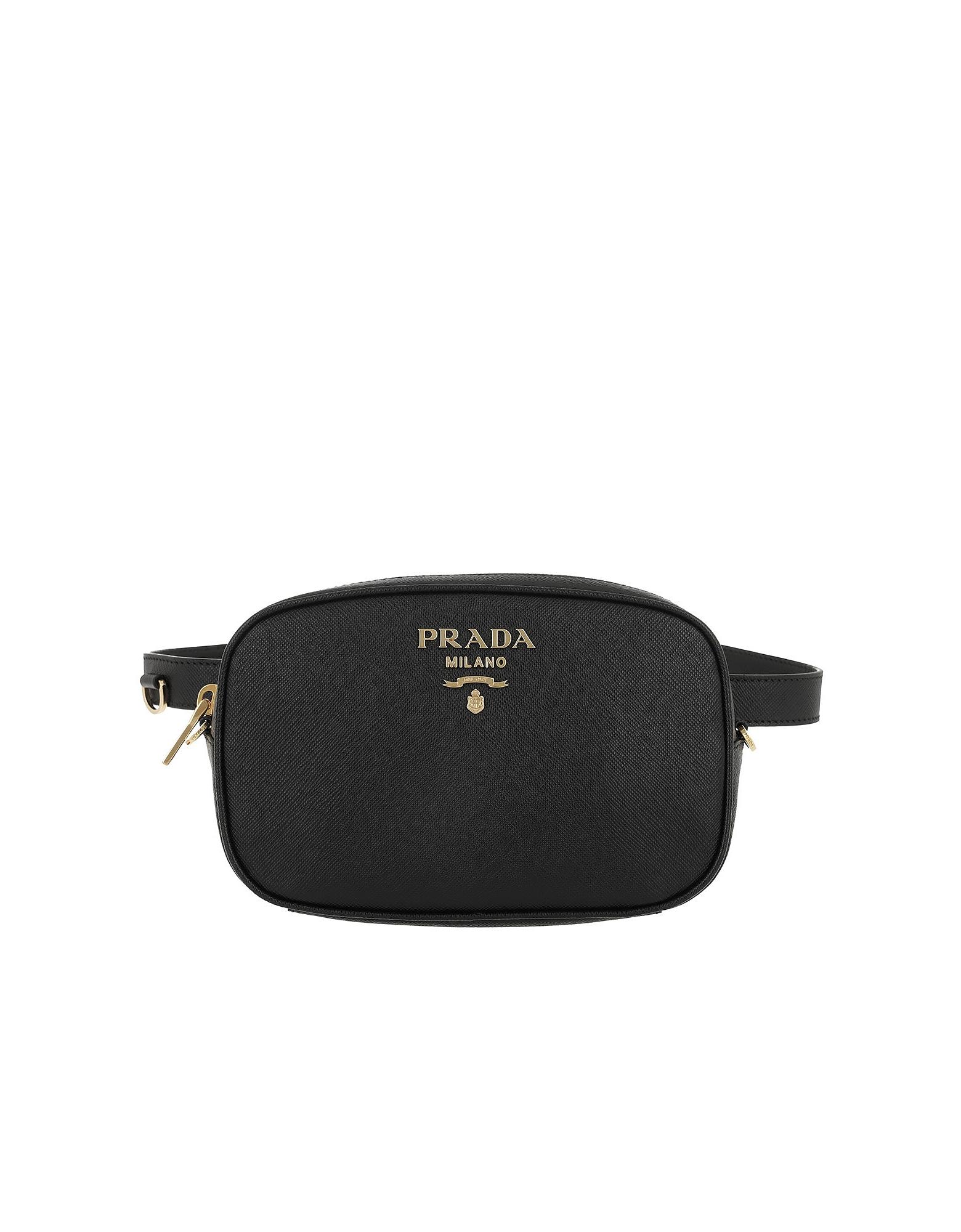 Prada Handbags, Saffiano Leather Belt Bag Black w/75 cm Strap