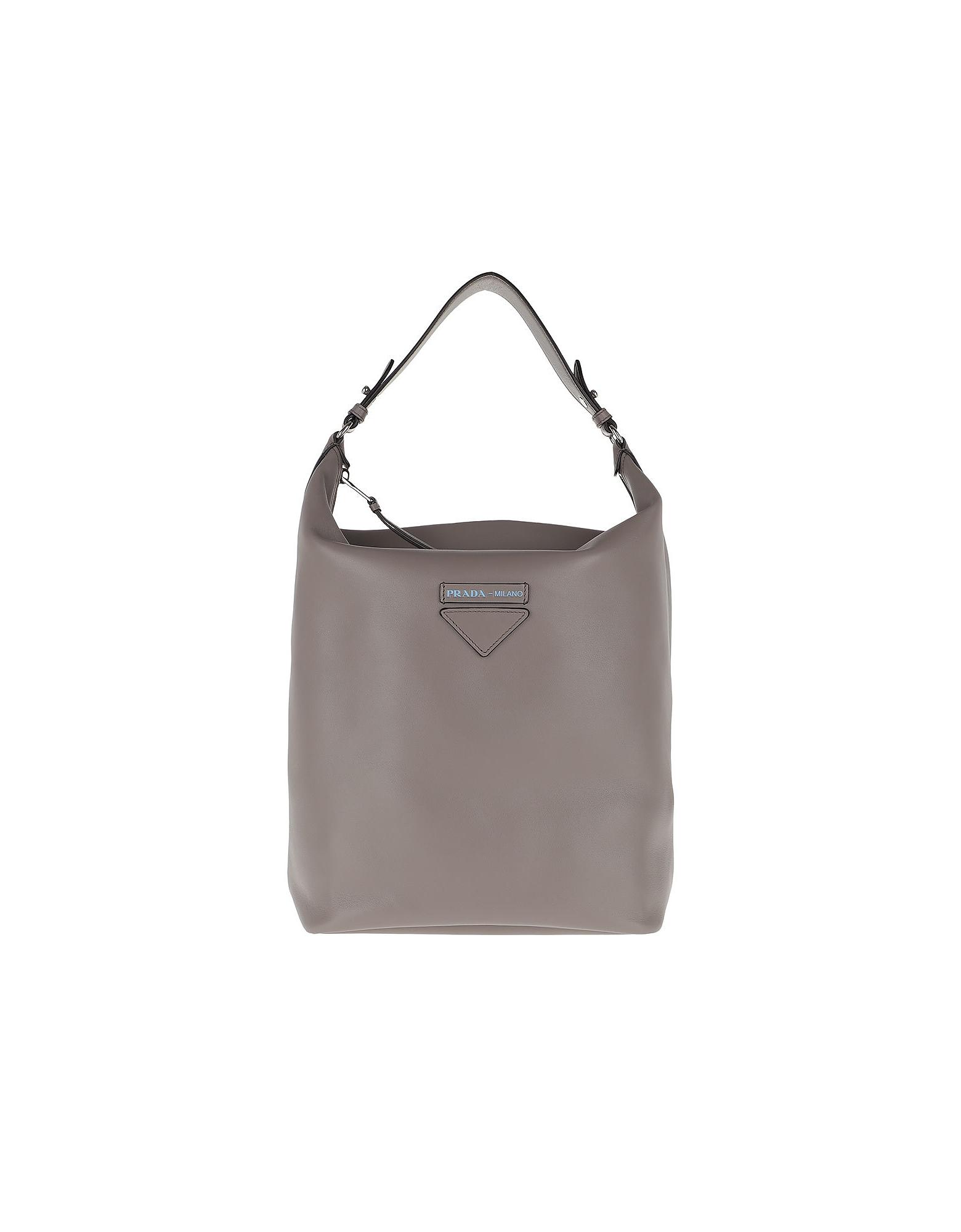 Prada Handbags, Etiquette Hobo Bag Leather Argilla