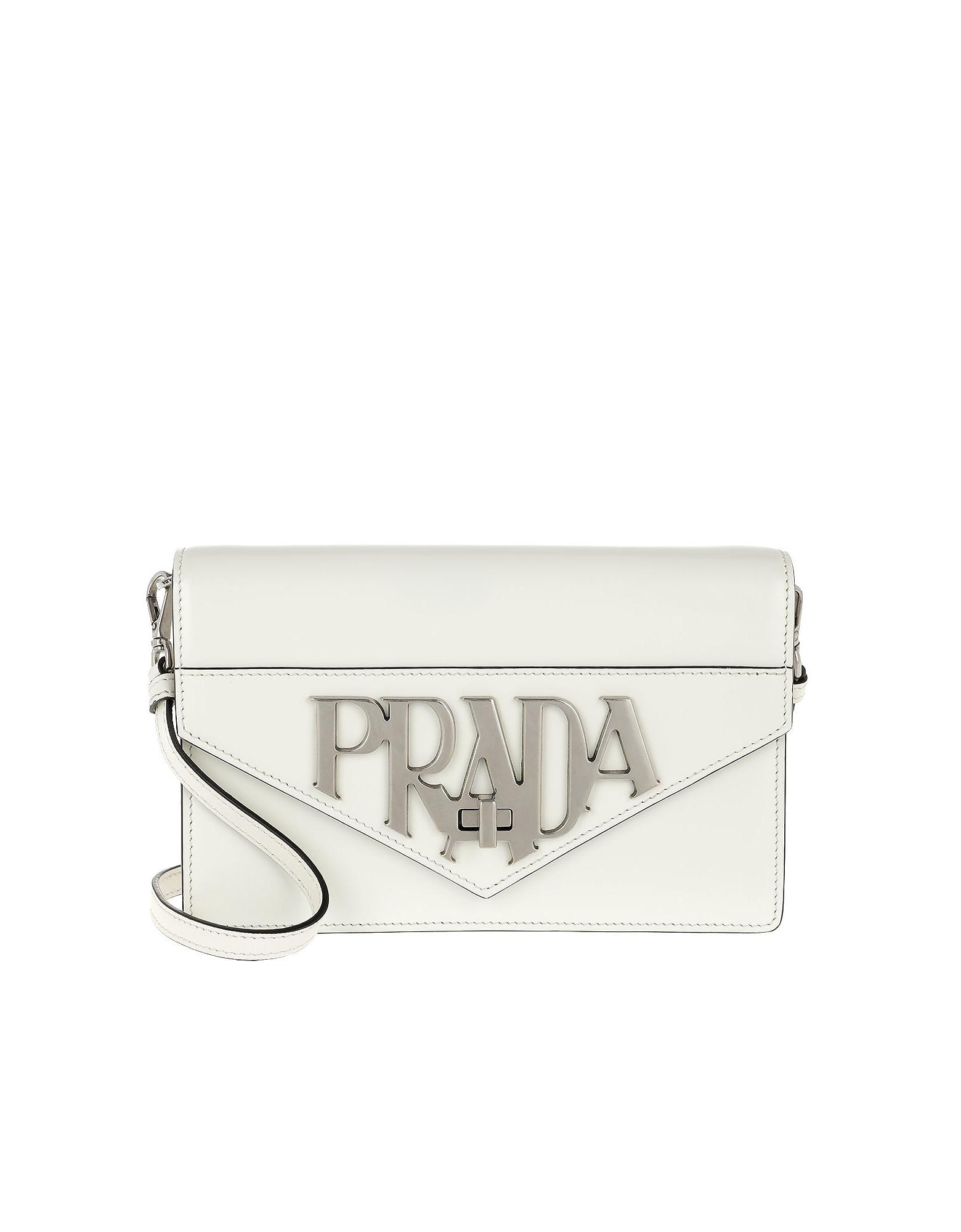 197c5f14dc17 PRADA LOGO PATTERN ANTIQUE SHOULDER BAG WHITE. Photo: FORZIERI