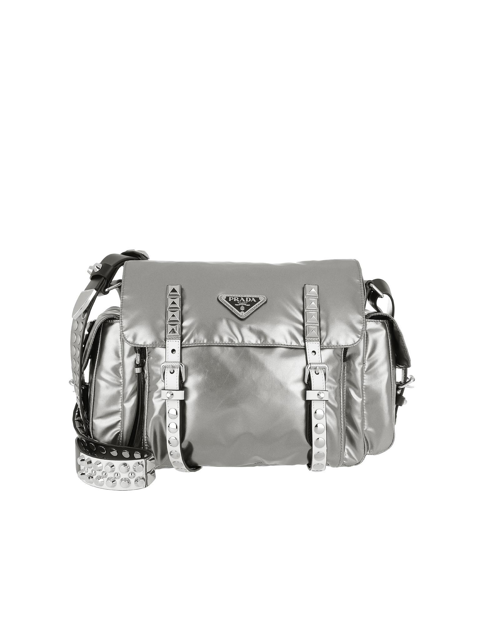 Prada Handbags, Shoulder Bag Metallic Nylon Ferro/Nero