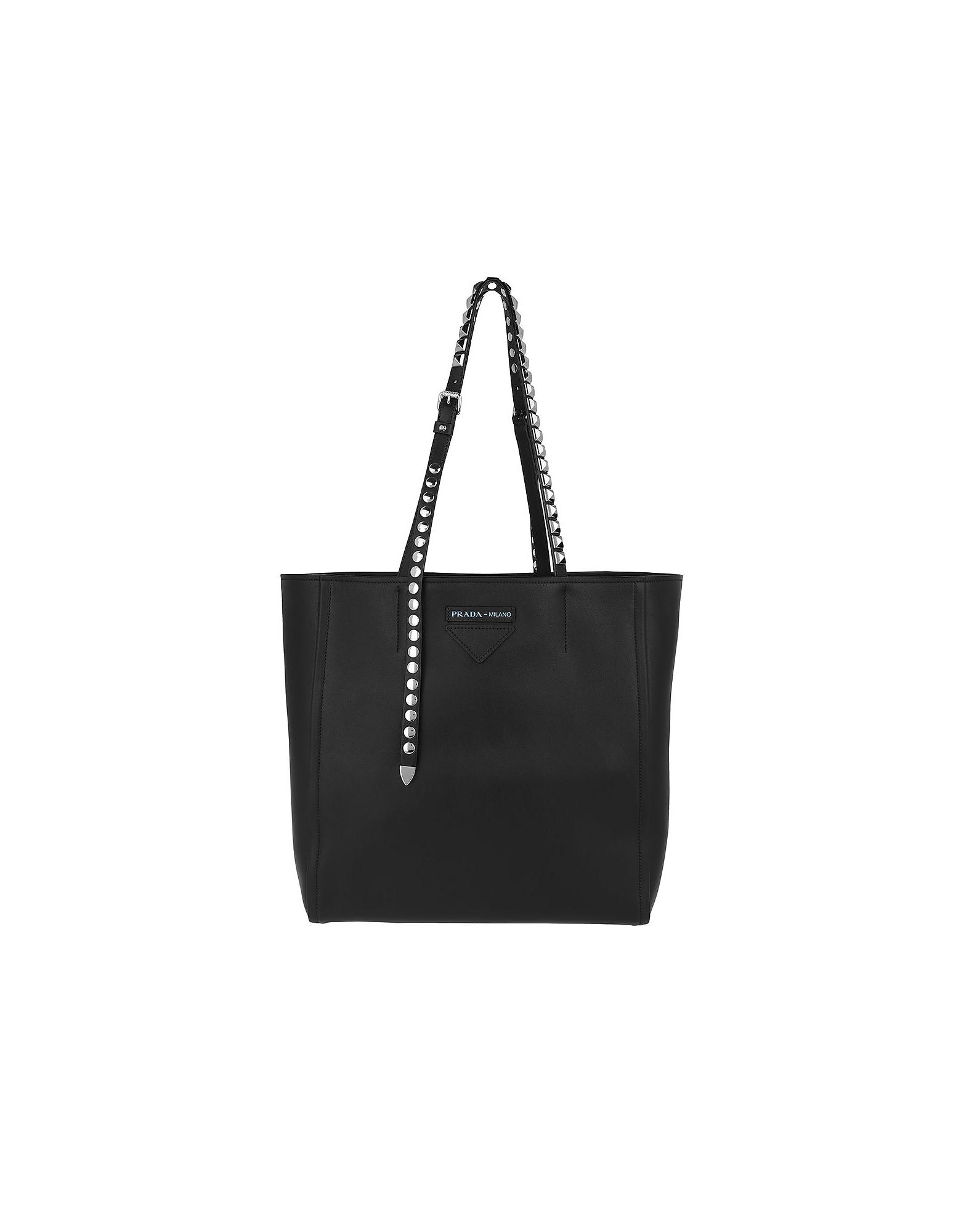 Prada Handbags, Grace Leather Tote Studded Nero