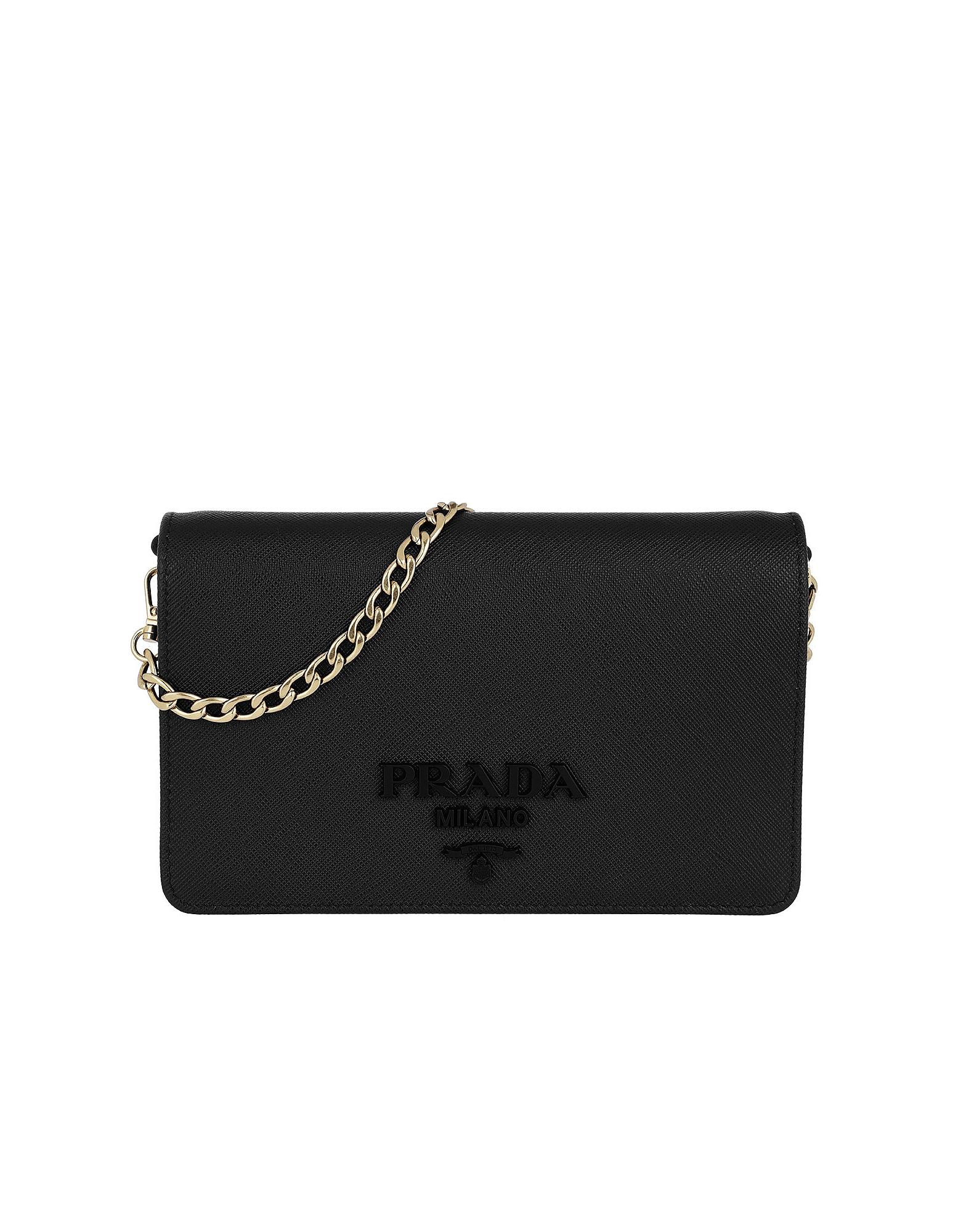 Prada Handbags, Saffiano Lux Crossbody Calf Leather Black