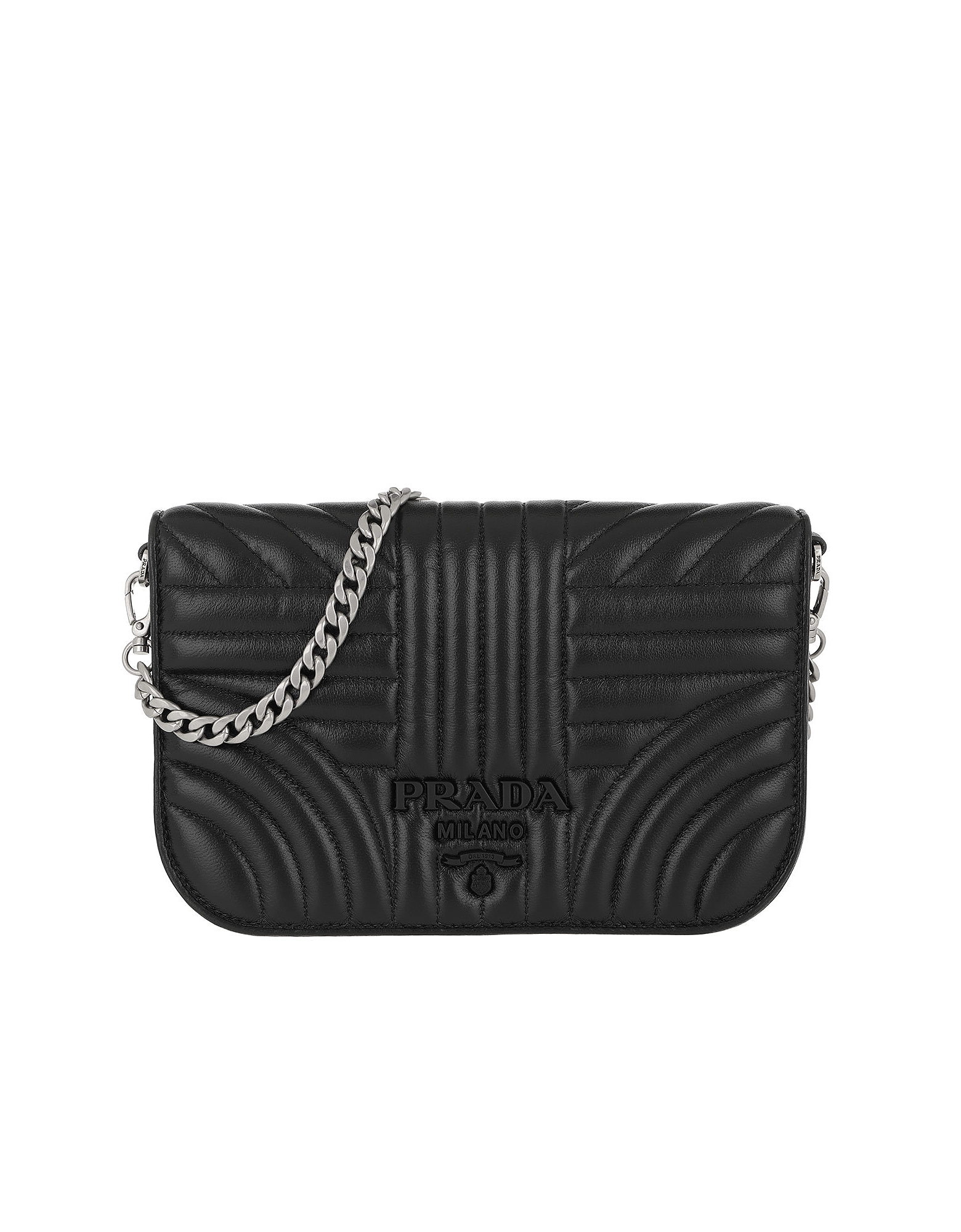 Prada Handbags, Quilted Diagramme Nappa Leather Bag Black